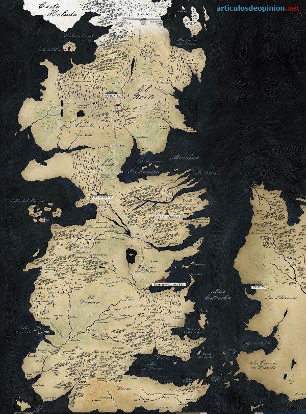 Mapa de Poniente Juego de tronos